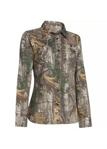 New Under Armour Long Sleeve Real Tree Hunting Shirt Button Down  Woman's L $80