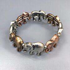 Antique Silver Gold Copper Elephant Link Design Stretchable Bangle Bracelet