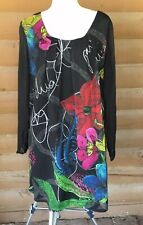 DESIGUAL Abstract Colorful Shift Dress With Pleated Neckline Polyester Sz 46