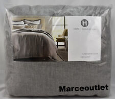 Hotel Collection Linen Embroidered KING Duvet Cover Gray