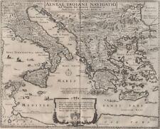Virgile Énéide Carte géographique Énée Méditérannée gravure originale Hollar