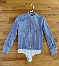 J Crew Women's Stretch Perfect Button Down Shirt Bodysuit Blue Stripe Size 8 NWT