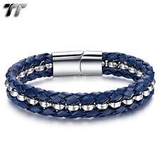 TT Blue Leather 316L Stainless Steel Link Bracelet (BR224F) NEW Arrival