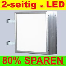 LED Leuchtwerbung 2-seitig beleuchtet 800 x 800 x 138 mm Aussteller Nasenkasten