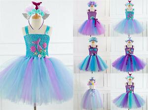 UK Girls Ariel Tutu Kid Little Mermaid Party Fancy Dress Costume Headband Outfit