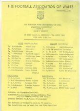 1984/85   Wales   v   Belgium  S/S   Programme   Ebbw Vale   Excellent