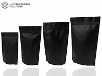 Heat Seal Black Aluminium Foil Stand Up Bags / Pouches Zip Lock Bag Food Grade