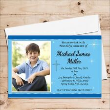 10 Personalised Boys 1st First Holy Communion Christening Photo Invitations N21