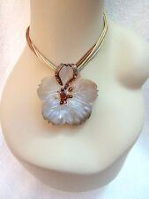 Marc Labat Flower Shell Pendant Necklace Carved Beads Crystals France --Superb!