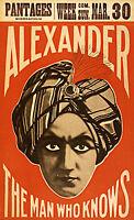 1915 Magician Advertisement Poster Alexander the Man Who Knows Magic Decor Print