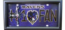 Baltimore Ravens #1 Fan License Plate Clock A Man Cave Game Day Must Have