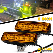 2x Amber lamp 6Inch 288W Led Work Light Bar Offroad Driving 4WD Truck ATV SUV 7""