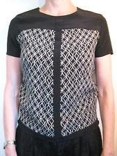 Moncollet Size 4 or 8 Black Silk Shift Blouse