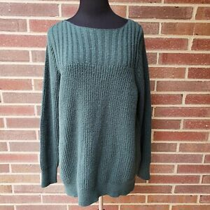 New Women's Plus Size 2X Emerald Green Cotton Blend Pullover