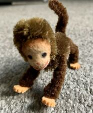 "Schuco Germany Chimp Piccolo Mascot Monkey Mohair Chenille  Posable 3"" Metal Vtg"
