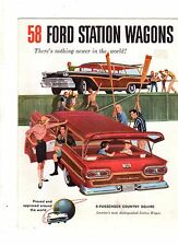 1958 Ford Station Wagons Sales Folder - new from the dealer's shelves -