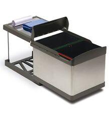 Pattumiera per cucina INOX carrello estraibile 2 secchi -sottolavello automatica