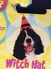 Dog Halloween Costume Orange Polka Dot With Black Witch Hat Hat Medium-Large