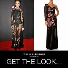 NEW Forever Unique Red Black Floral Sequin Embellished Maxi Long Dress Gown 8