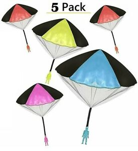 5Pack Tangle Free Throwing Toy Parachute Man with Large Parachutes!