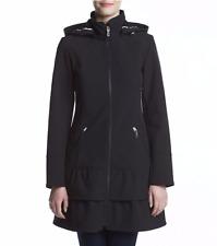 Betsey Johnson Soft Shell Hooded Coat Black Water Repellant Ruffle Corset XS