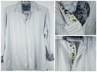 INSERCH Button Up Shirt Men's SZ XL Light Blue Stripes Flip Cuff Jacqaurd Cotton