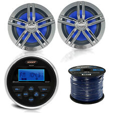 "Jensen Gauge Marine Digital Media Bluetooth Radio, 6.5""Speaker Set, USBAUX Cable"