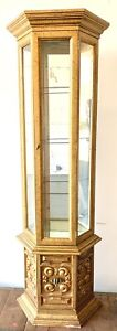 Hollywood Regency Vintage Gold Narrow Curio Golden Wooden Tall Glass Cabinet