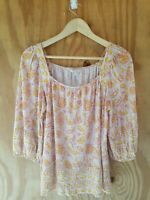 Lucky Brand Women's Blouse Top 3/4 Puff Sleeve Square Neck Floral Print.Size M
