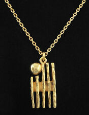 "* 1970s "" Guy Vidal "" BRUTALIST MODERNIST GOLD TONE PEWTER PENDANT/NECKLACE"