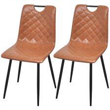 Vidaxl sedie da pranzo 2 pz in Pelle Artificiale Marrone chiaro