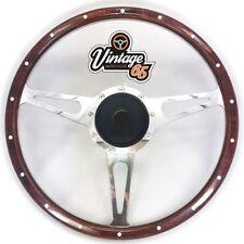 "Vw Beetle 15"" Classic Wood Rim Steering Wheel & Fitting Boss Badged Horn Upgrade"