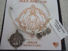 Alex and Ani JESUS Rafaelian Silver Charm Bangle Bracelet New W/ Tag Card & Box