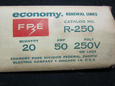 New 20 Economy FPE Renewal 50A 50 Amp Fuse Links 250V or less R-250