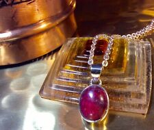 Genuine 925 Sterling Silver and Natural Ruby Gemstone Pendant