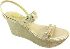 Lisa Kay Yemisi Women's Gold Open Toe Wedge Heel Buckle Backstrap Sandals New