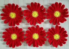 10 Crocheted Flowers Handmade Applique - 9.5 cm Sewing Craft Decor in Red