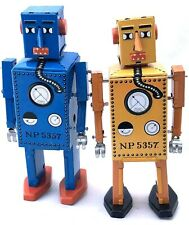2x ROBOTS  LILLIPUT CLASSIC WIND-UP  TIN TOY BLUE & YELLOW COLLECTIBLES