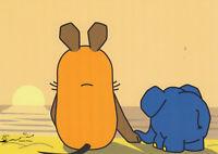 Postkarte: Sonnenuntergang / Maus und Elefant gemeinsam