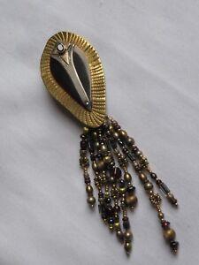Vintage DAVID NAVARRO Brooch Pin Jewelry Garnet (ac742)