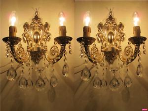 PAIR OF Antique Vintage French Crystal Aplique electric sconces applique1940's.