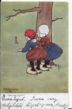 "VINTAGE CHILDREN TUCK,S POSTCARD,ARTIST,SHEPHEARD,BOY GIRL""ARE YOU AFRAID ?""1904"