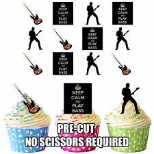 PRECUT Bass Guitar Keep Calm Silhouette 12 Edible Cupcake Toppers Decorations