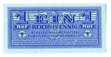 Germany Wehrmacht Auxiliary Payment Certificate 1 Reichspfennig 1942 UNC