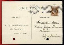 CARTE POSTALE PARIS 25 RUE D ANTON TAMPON FAUTE POUR VALLAURIS 1946