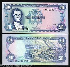 JAMAICA $10 P71 1989 GORDON UNC BAUXITE MINING CURRENCY MONEY BILL NOTE