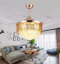 """New Listing42"""" Luxury Crystal Invisible Ceiling Fans Crystal Led Light Chandeliers w/Remote"""