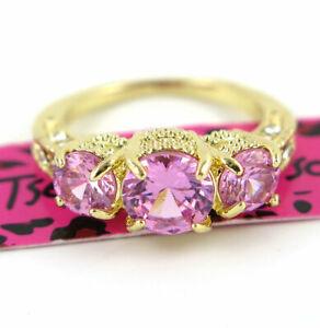 Women Elegant 3- Pink Crystal Wedding Ring Gold Colour Betsey Johnson Size 9