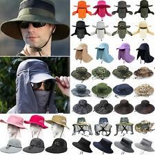 Men Ladies With Flap Hiking Fishing Wide Brim Bucket Hat Bonnie Outdoor Sun Cap
