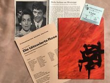 """Program booklet """"Tattooed Rose"""" Spectacle Force Zurich 1966 + Ticket Thea. Mainz"""